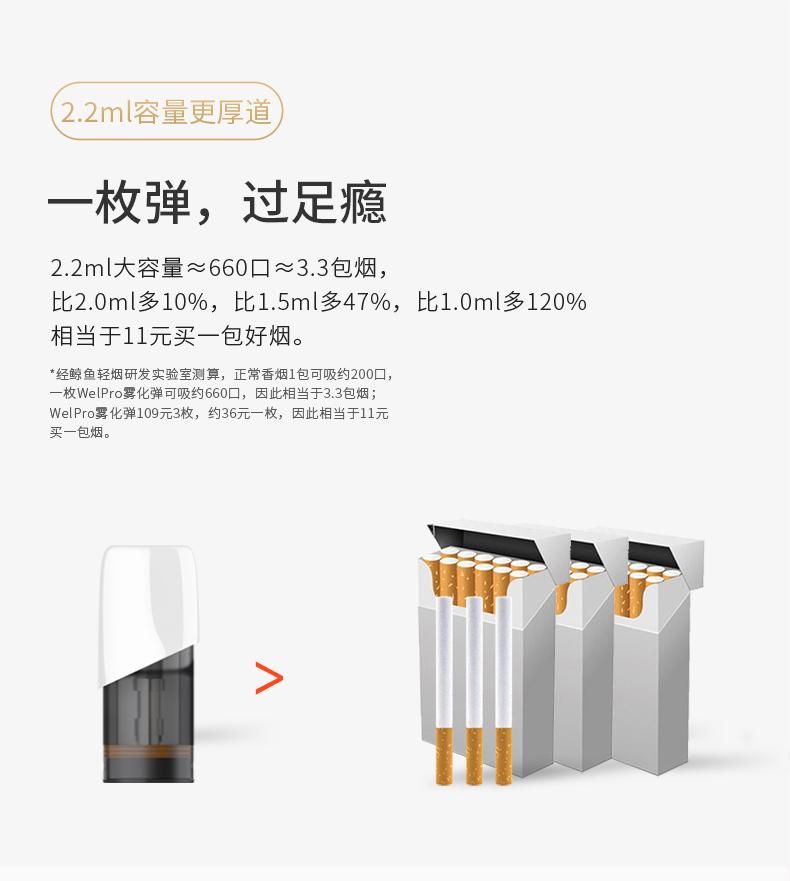 鲸鱼wel电子烟 2.2ml烟弹 约等于3.3包烟 相当于11元买一包好烟