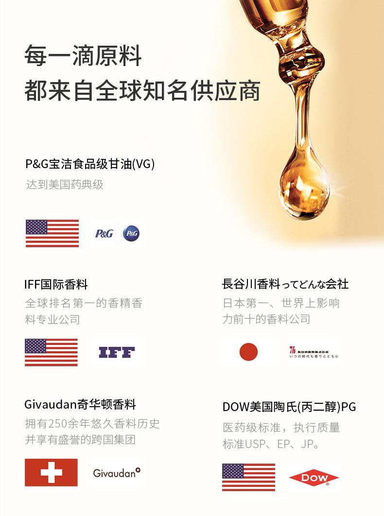 鲸鱼wel电子烟 香料原料精选全球知名供应商P&G甘油,IFF香料,DOW丙二醇,长谷川香料