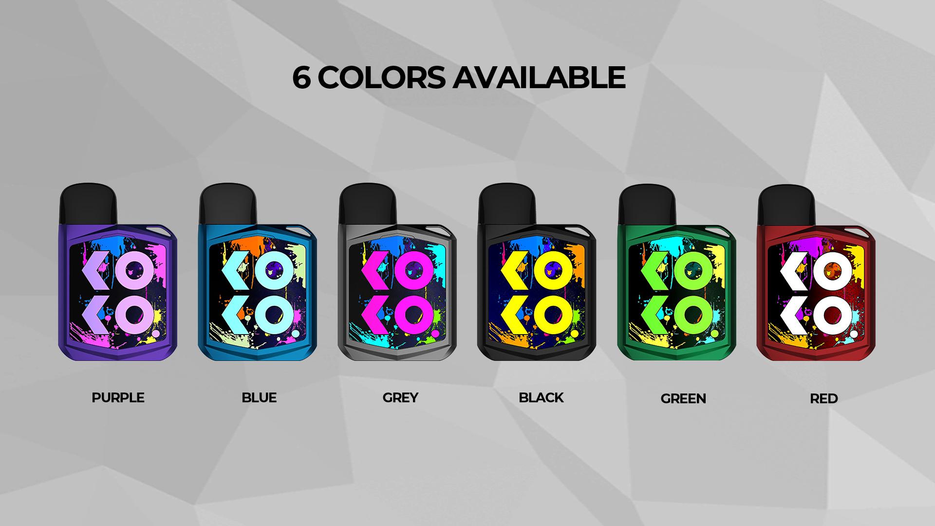 koko电子烟六种颜色